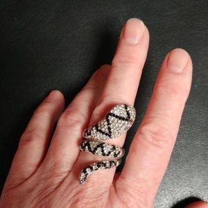 Snake  Silver Sparkle Ring